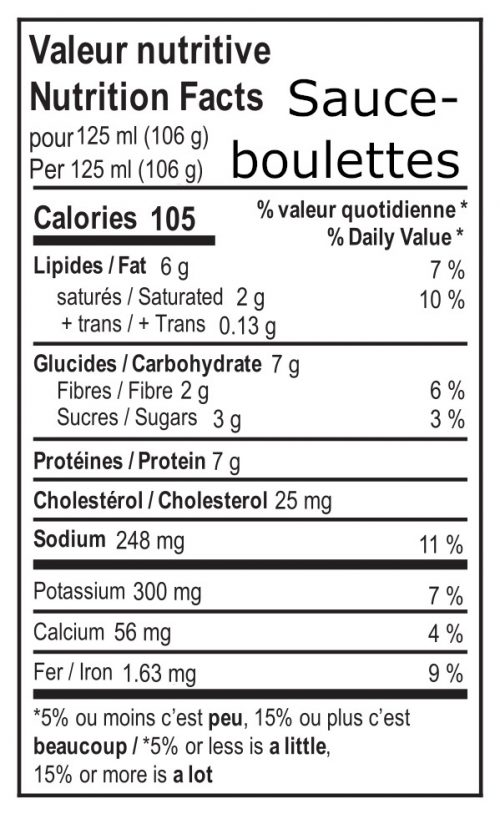 valeur nutritive sauce boulette