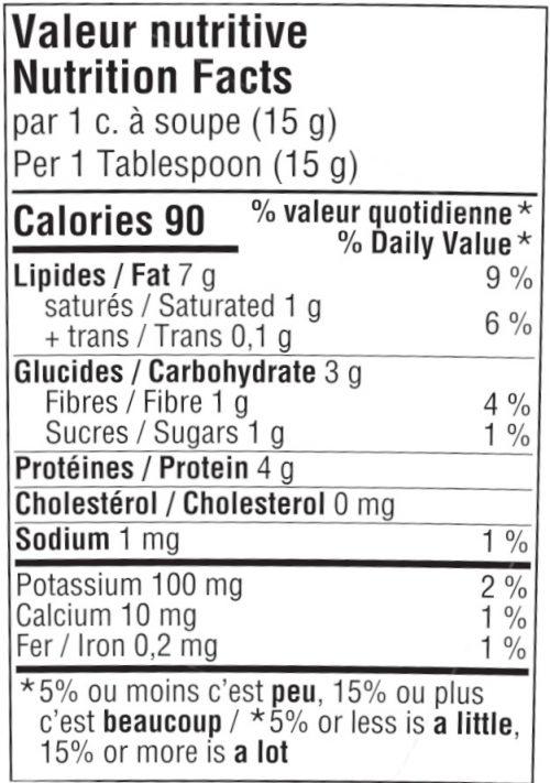 beurre d'arachide bio valeur